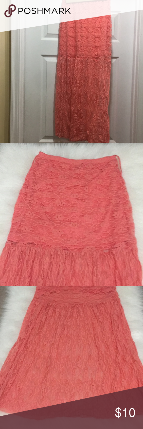 rue 21 coral lace long skirt Super cute rue 21 lace skirt. Lined until above the knees. Then lace is sexy see thru. Belt loops for a wide belt. So cute with cowboy boots or heels. In gently preowned condition. Skirts Maxi