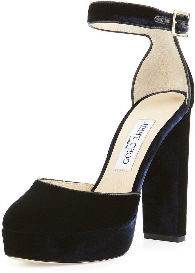 10d16ffcd29b09 Jimmy Choo Daphne Velvet Ankle-Wrap Sandal