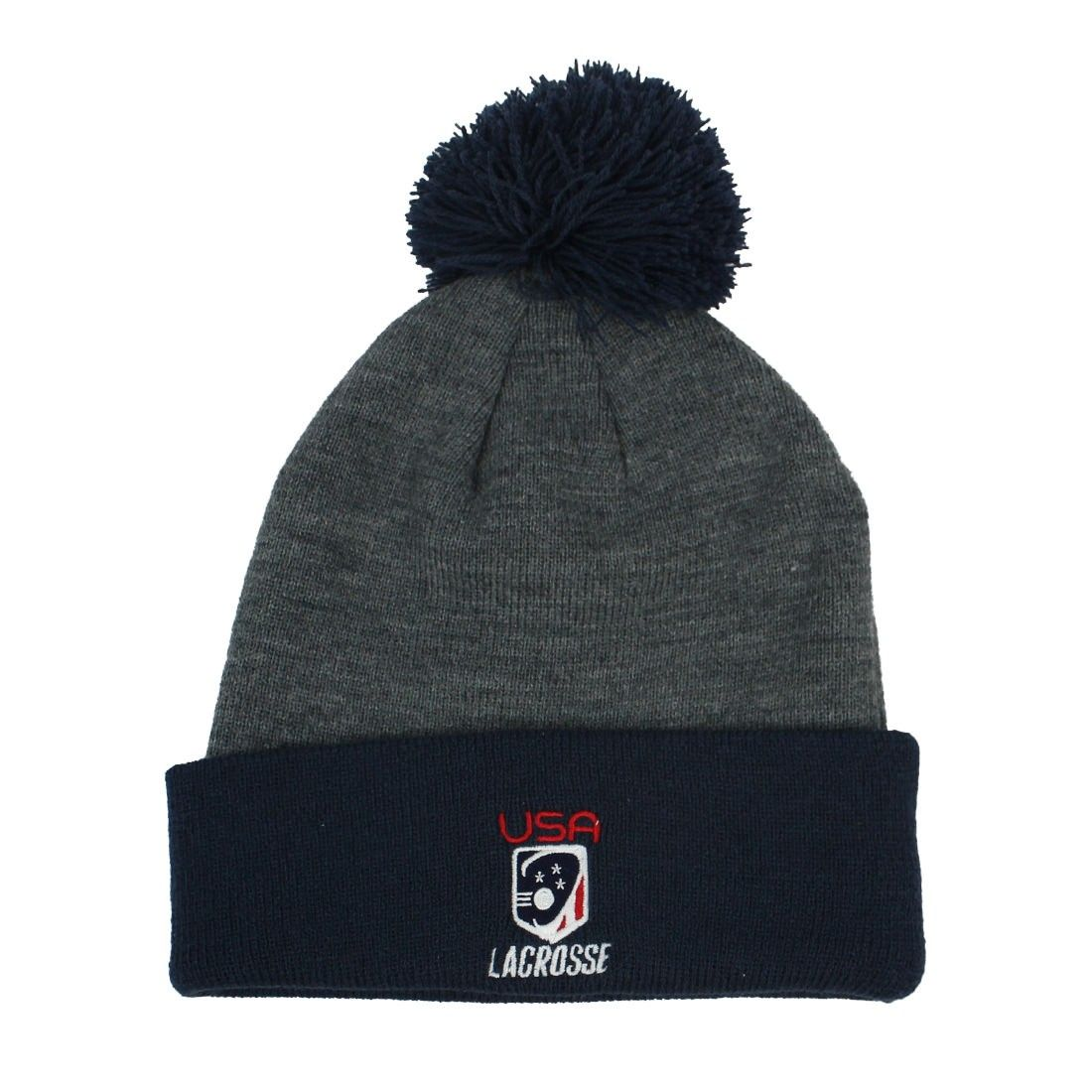 Nike Team USA Knit Hat Navy Pom Pom on top of hat Front  Nike USA lacrosse  logo Back White Nike Check Warm 34cfa4879271