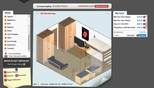 Headed To College? Design Your Dorm Lets You Build Your Pad In 3D – TechCrunch