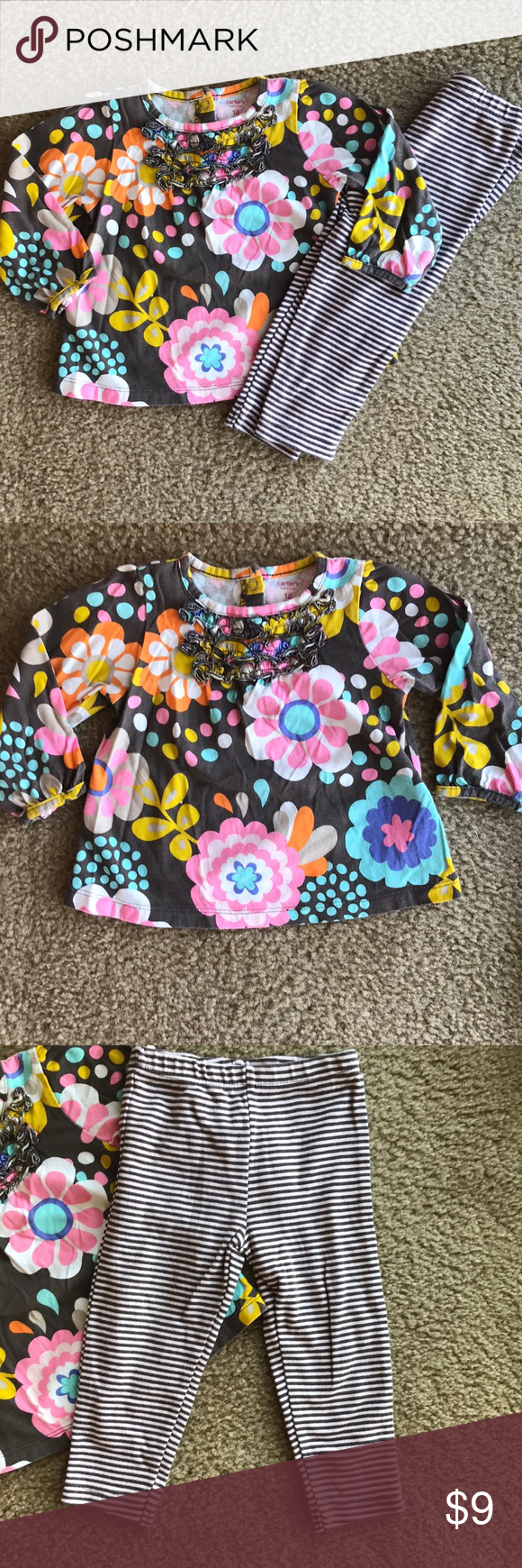 Baby Girls Floral Cardigan Top Striped Leggings Clothing Sets