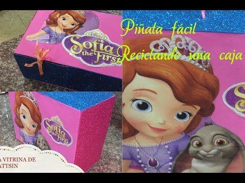 34bd750b7 Como hacer una piñata facil Pricesa Sofia reciclando una caja - YouTube