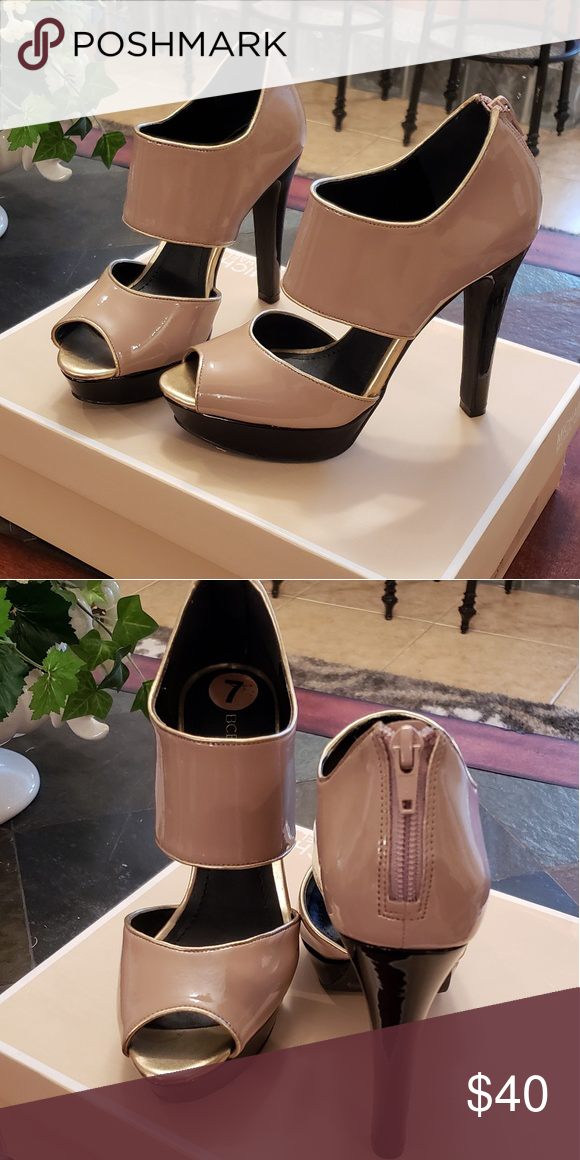 755a284297d BCBG nude and black patent heel BCBG nude and black heels 1