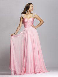 Online Column Queen Anne Sweep Train Satin and Chiffon Prom Dress Edmonton Cheap Shop