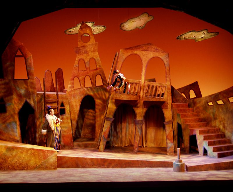 """""""The Scams of Scapin"""" scenic design by Kina Park, lighting design by Laura L. Cornish, at Rutgers Theatre Company"""