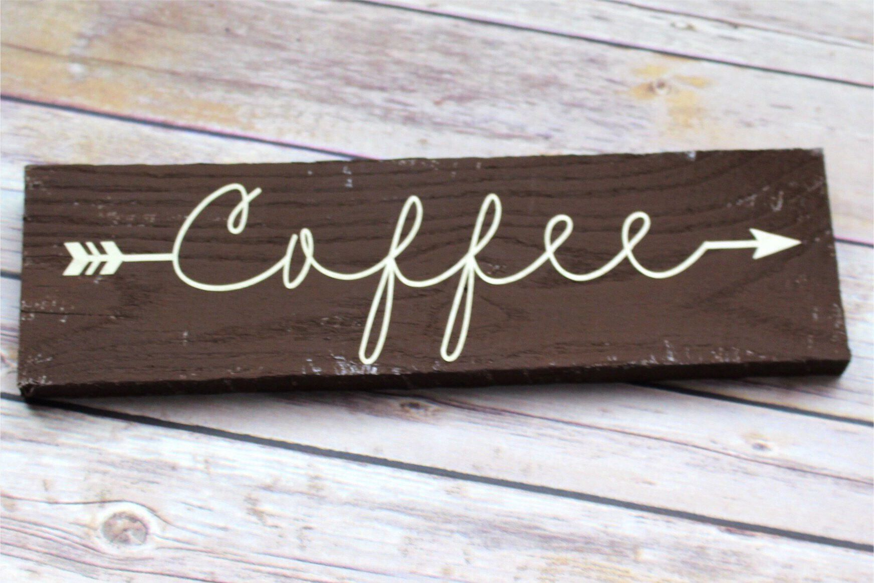 Coffee Wood Sign, Brown Coffee Sign, Rustic Coffee, Kitchen Decor, Country Coffee by CountrySquared on Etsy