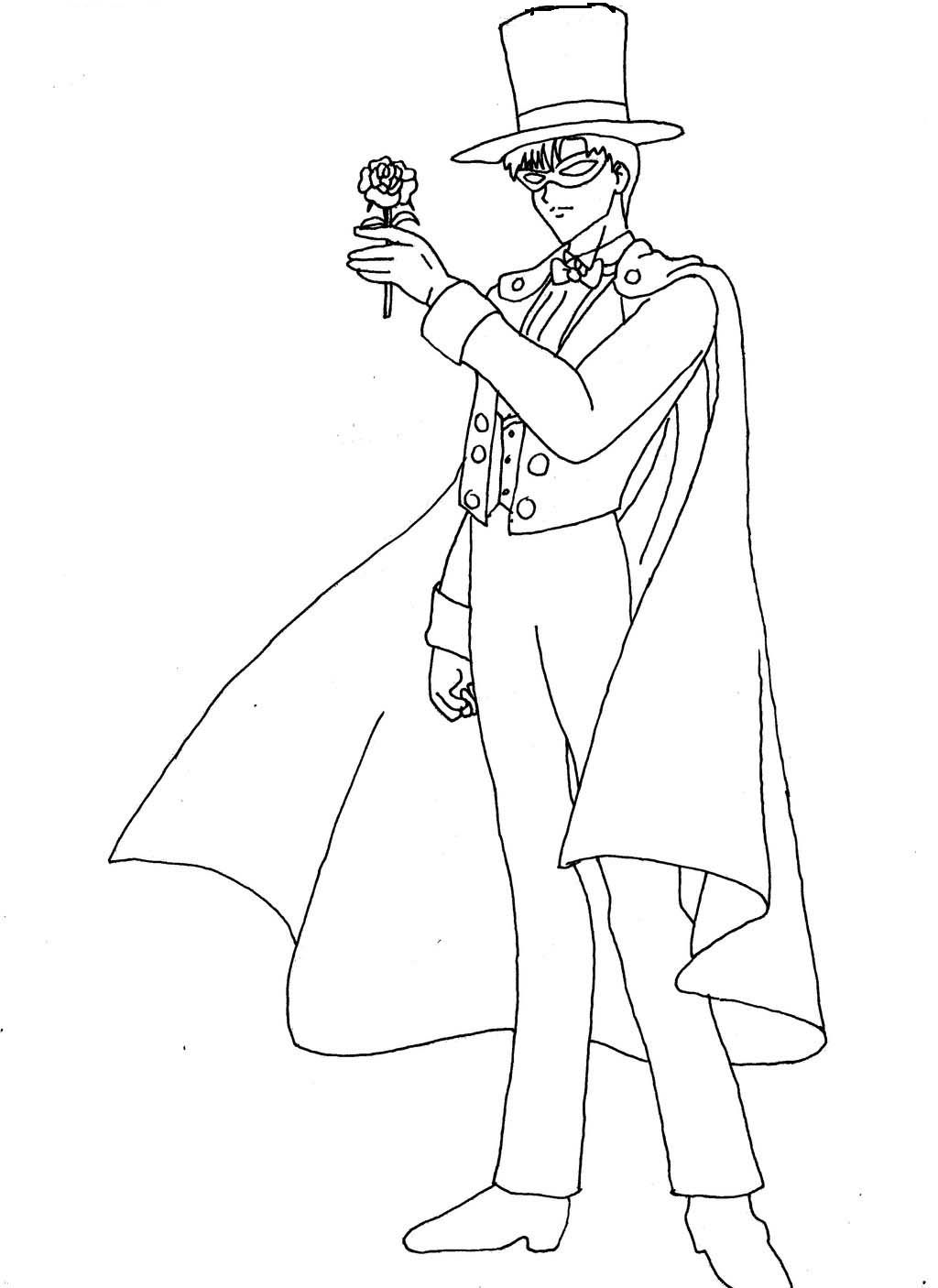 sailor moon tuxedo mask coloring pages | Sailor Moon Tuxedo Mask Carrying A Flower