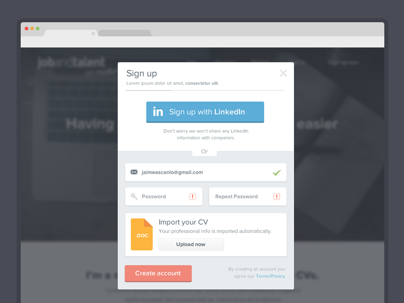 Sign up modal LinkedIn connect or Resume Parsing UI