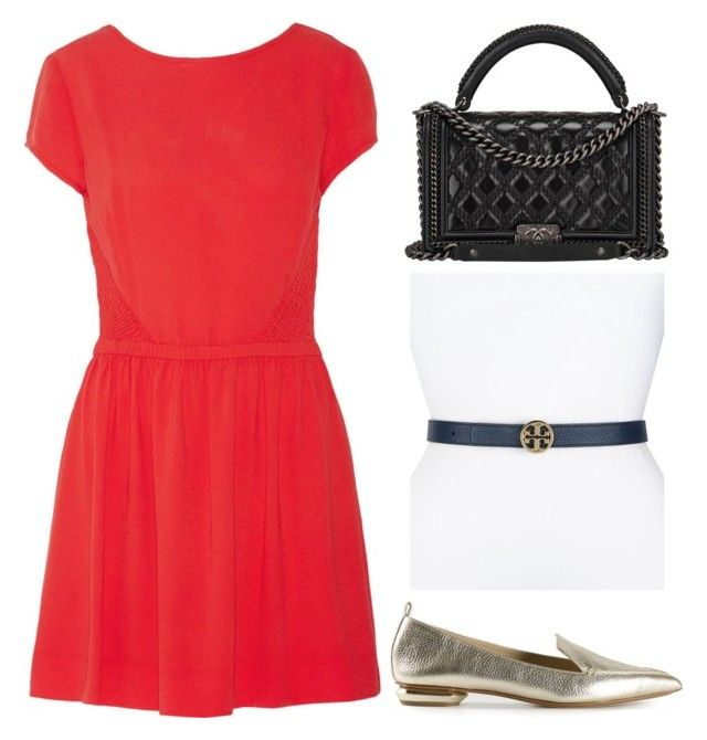 """""""Outfit Idea by Polyvore Remix"""" by polyvore-remix ❤ liked on Polyvore featuring Chanel, Nicholas Kirkwood, Maje and Tory Burch"""