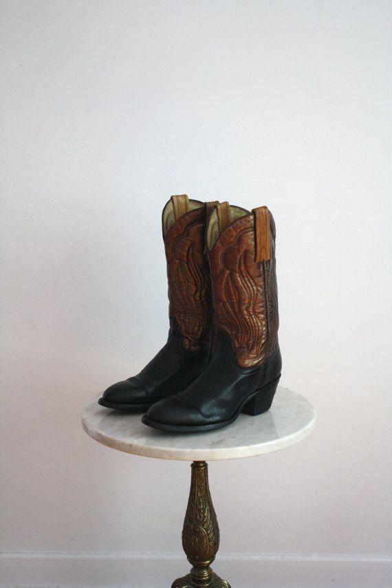 FRYE Boots Cowboy METALLIC Leather Black Bronze  by fiiimac, $198.00