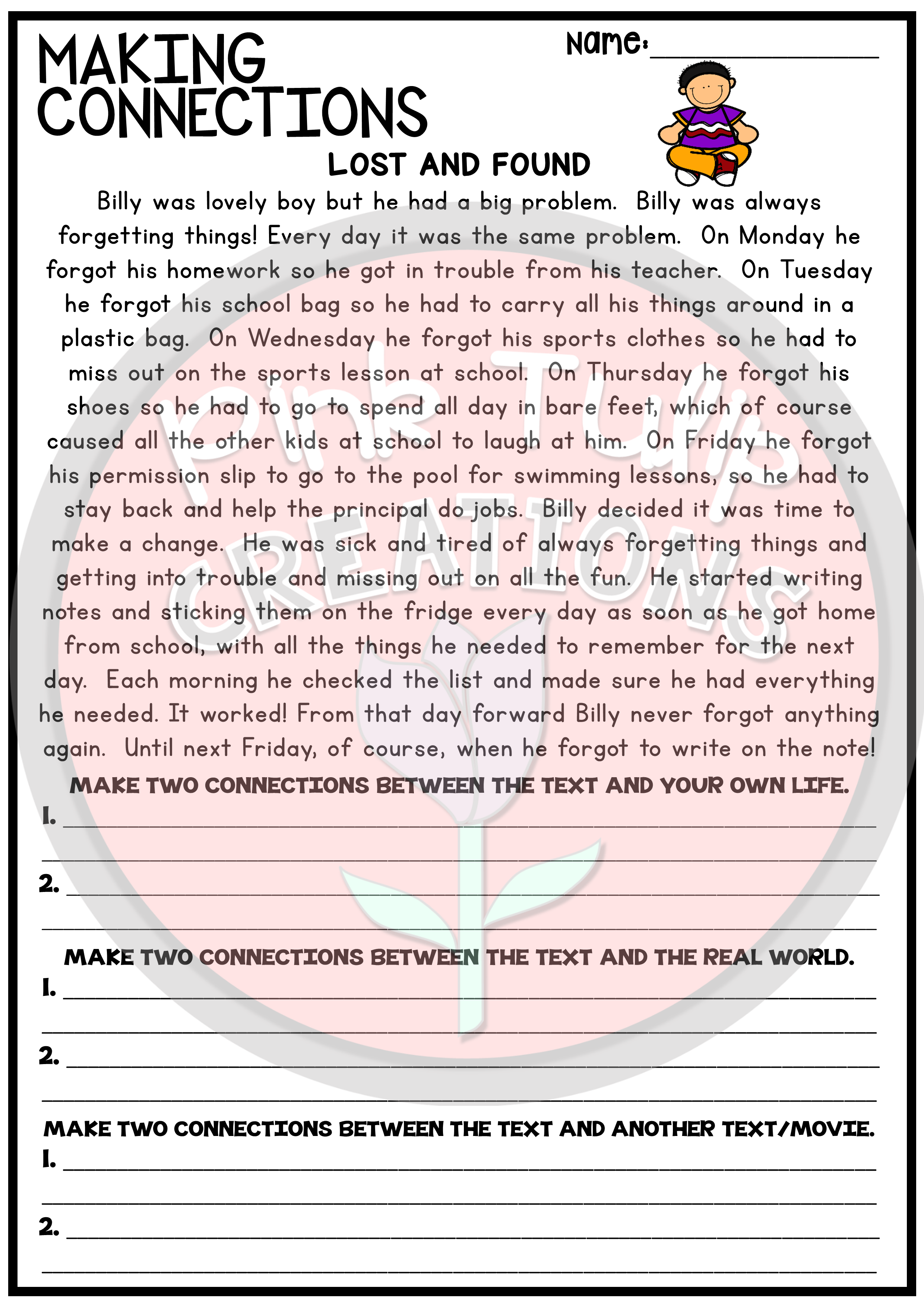 Worksheets Making Connections Worksheet making connections reading worksheet pack ela 6 pinterest each contains a passage with questions asking students to make two text self world