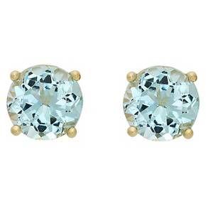 2.10 Carat TW Oval-cut Aqua Topaz Stud Earrings Gold Plated (March) : Target
