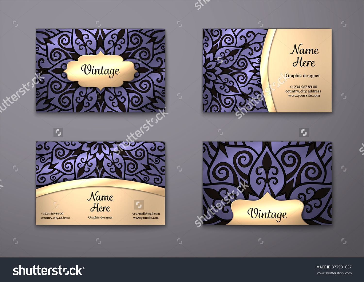 Vector Vintage Visiting Card Set. Floral Mandala Pattern And Ornaments. Oriental Design Layout. Islam, Arabic, Indian, Ottoman Motifs. Front Page And Back Page. - 377901637 : Shutterstock