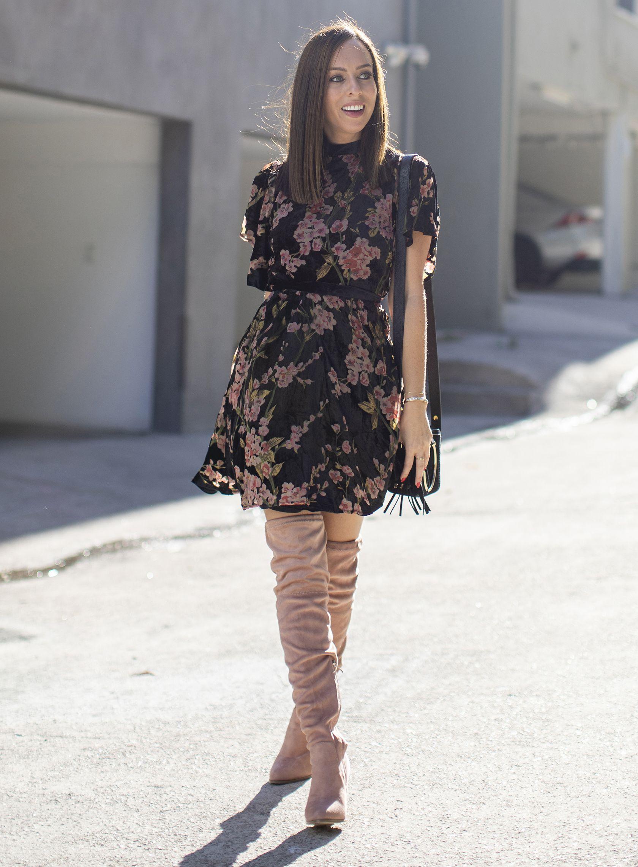 Sydne Style wears velvet floral dress with blush thigh high boots  florals   velvet  dresses  boots  overthekneeboots  sydnesummer ce595d058