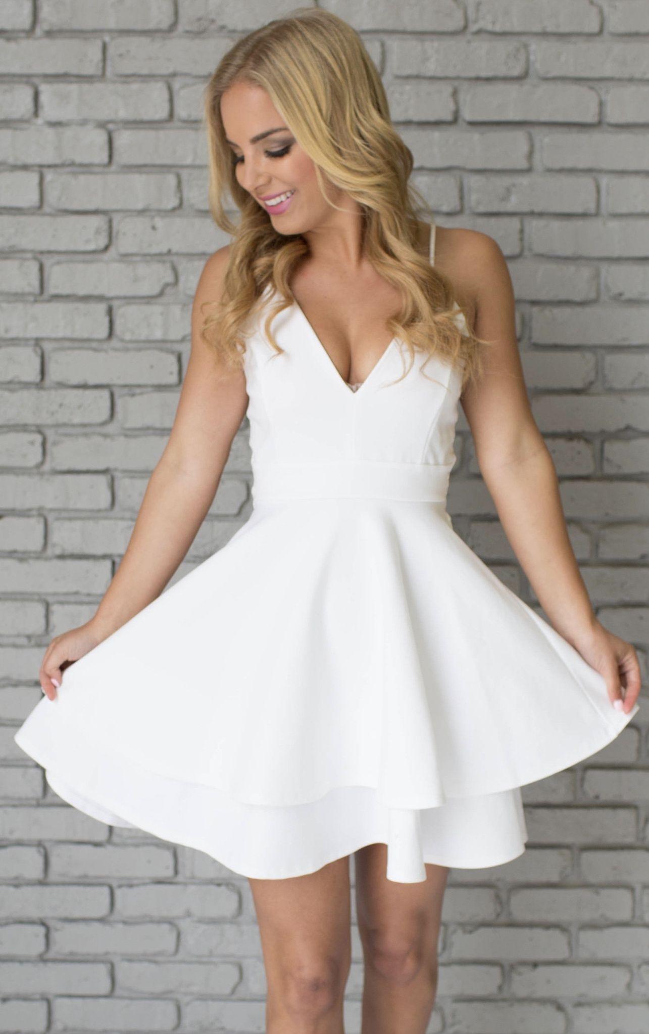 White homecoming dresses spaghettis straps layers skirt aline short