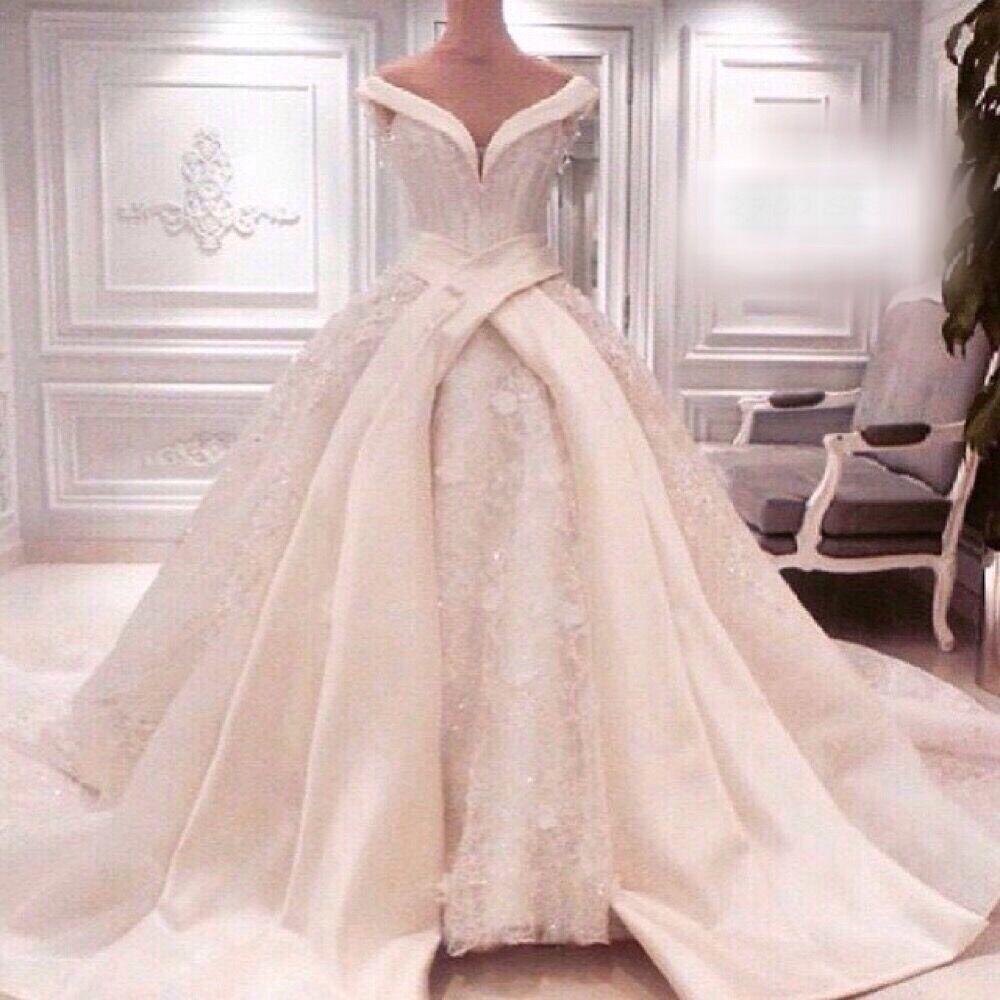 2015 catedral vestidos de boda de lujo Royal Puffy Catherdarl tren de encaje vestidos de novia de Organza en Vestidos de Novia de Bodas y Eventos en AliExpress.com   Alibaba Group