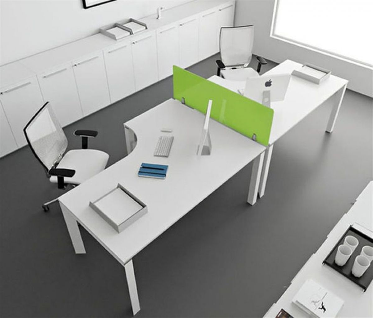 Modern Office Furniture Design Ideas With White Modular Desk