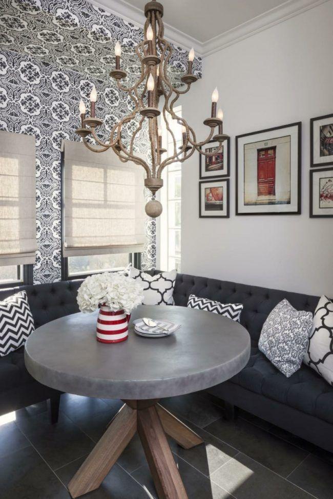 sitzecke in der küche modern rund esstisch stein tapete grau sofa ...