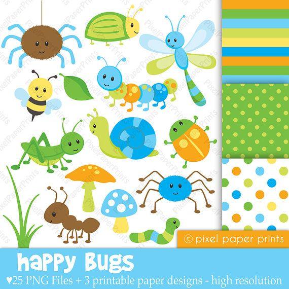 Happy Bugs - Clip Art and Digital Paper Set
