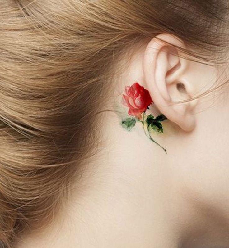 disney tattoo – une rose derrière l'oreille… | best couples tattoos