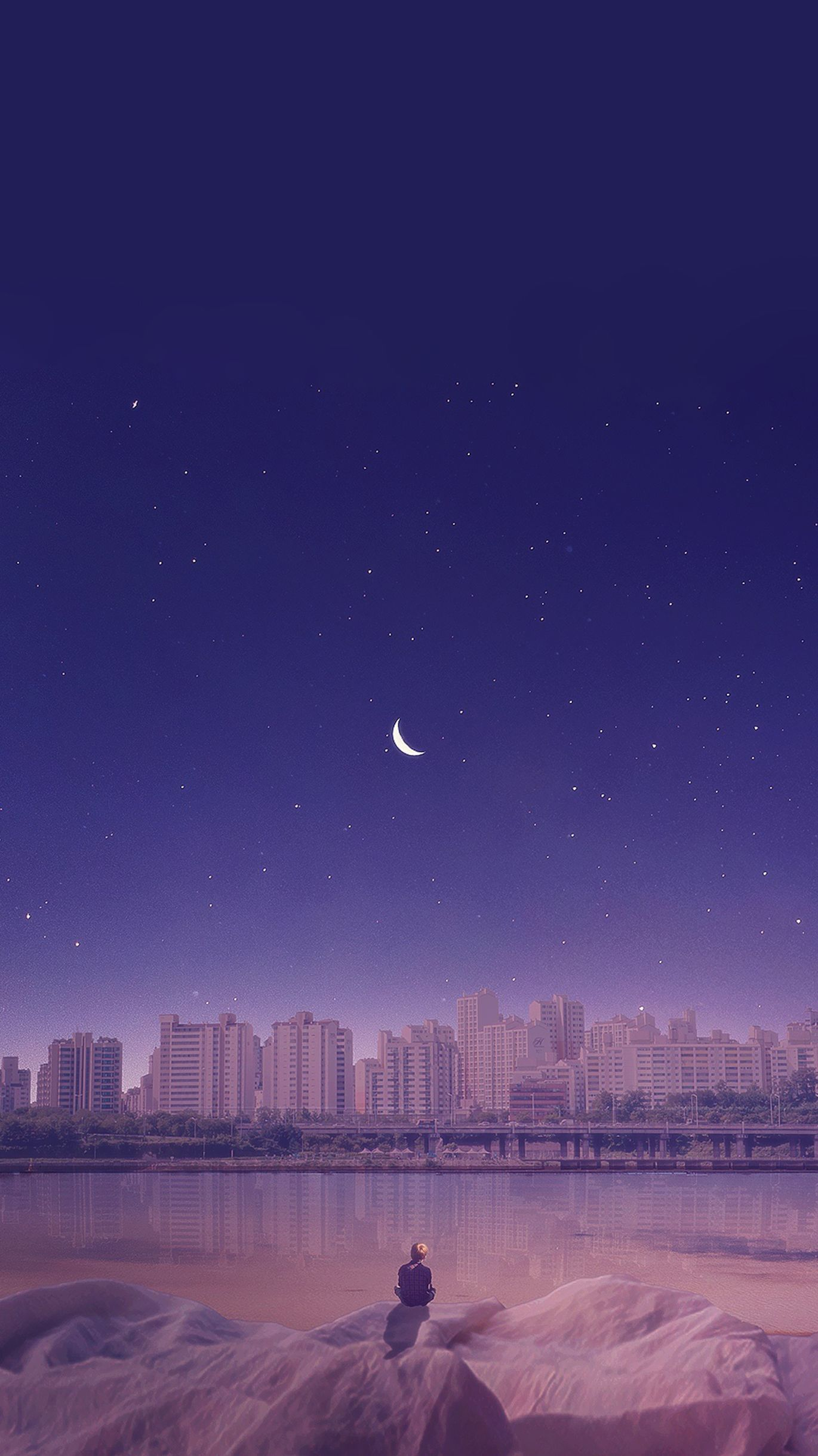 Purple Gentle Moon Wallpaper Scenery Wallpaper Anime Scenery Landscape Wallpaper
