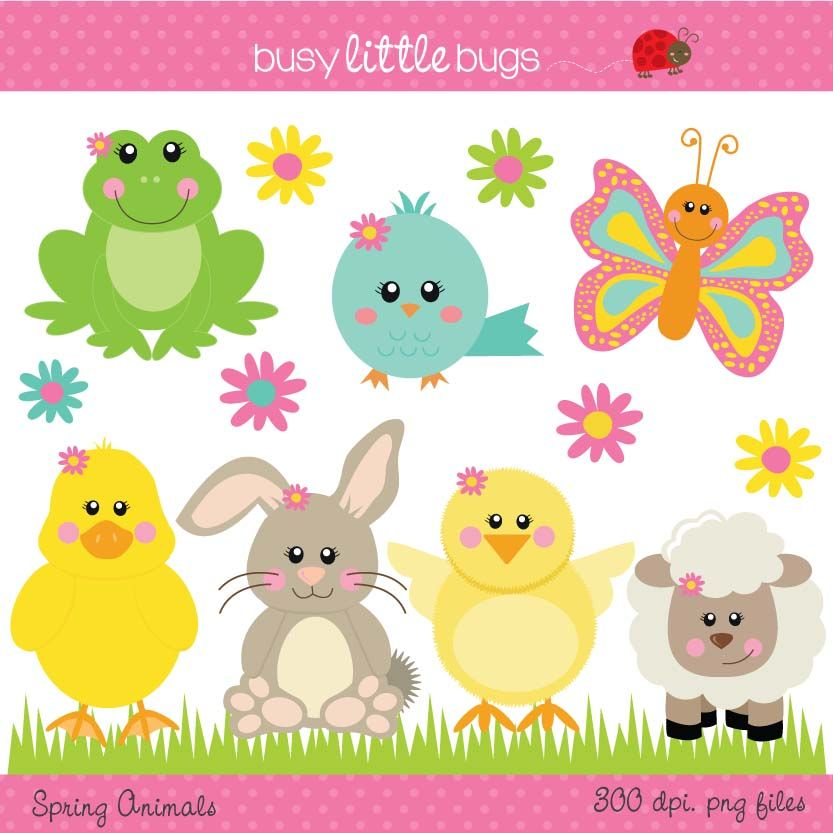 Spring Animals Clipart Includes Color And Blacklines Spring Animals Spring Clipart Stuffed Animal Patterns