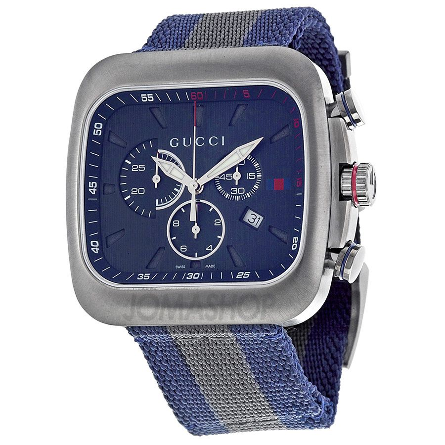d485d018b3e Gucci Coupe Chronograph Blue Dial Blue and Grey Nylon Mens Watch YA131203