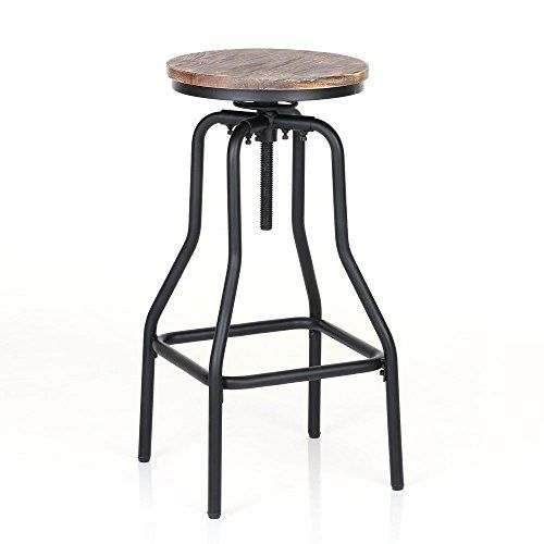 IKAYAA Tabouret de Bar Industriel en Pin et Métal Style Hauteur
