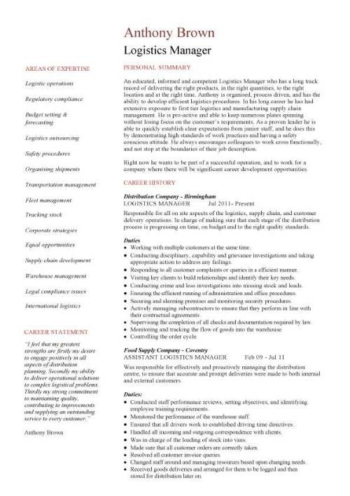 Supply Chain Resume Templates  Logistics Manager Resume   Page