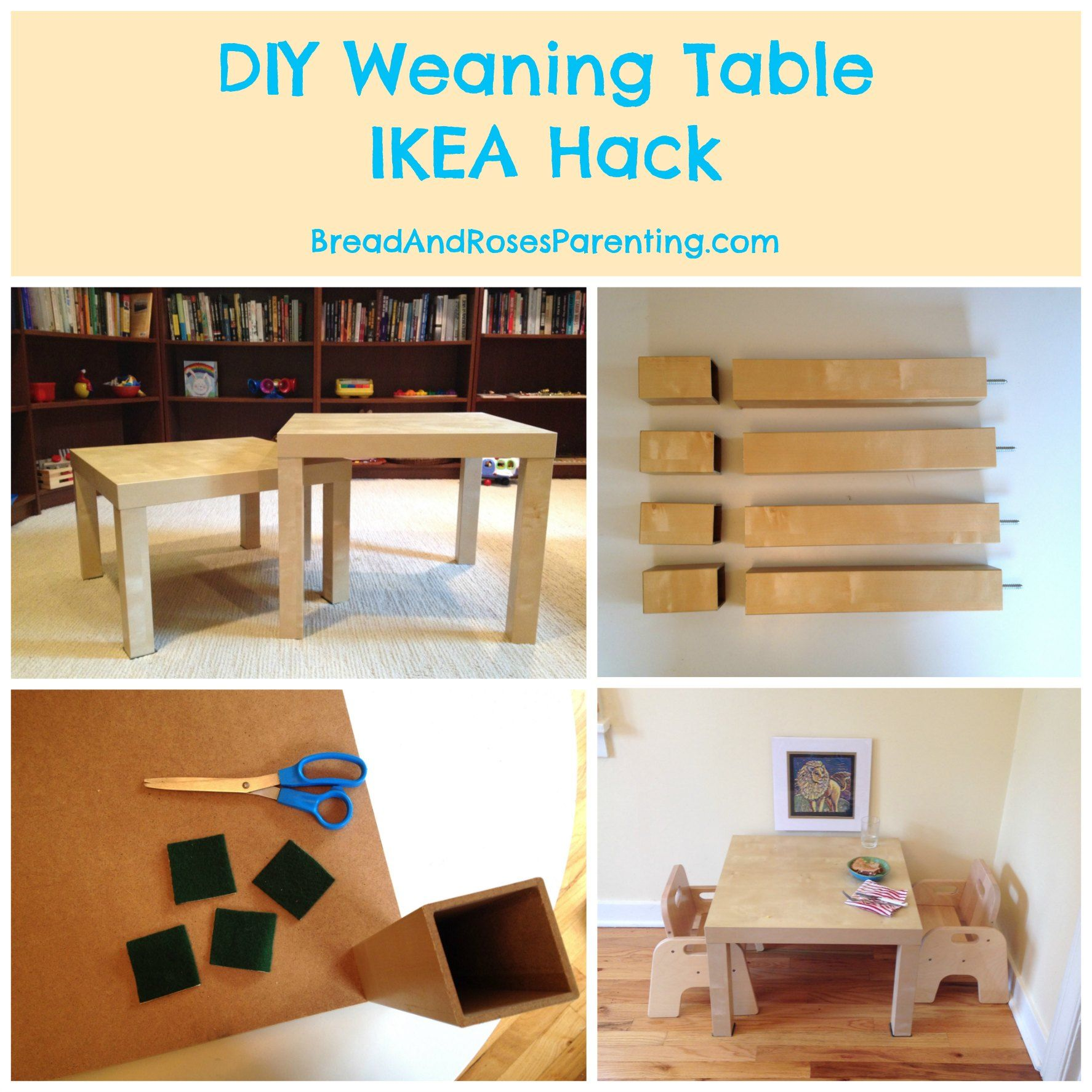 Diy weaning table ikea hack bread roses natural for Ikea montessori hack