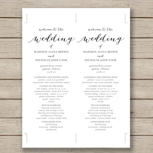 Wedding Program Template \u2013 41+ Free Word, PDF, PSD Documents