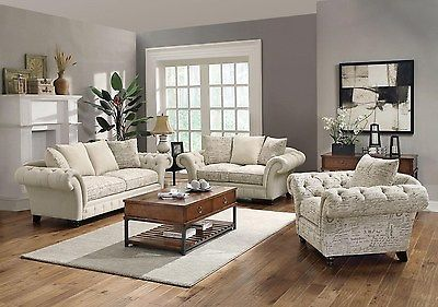 Willow French Script Style Tufted Overisized Rolled Arms Sofa Set 503761