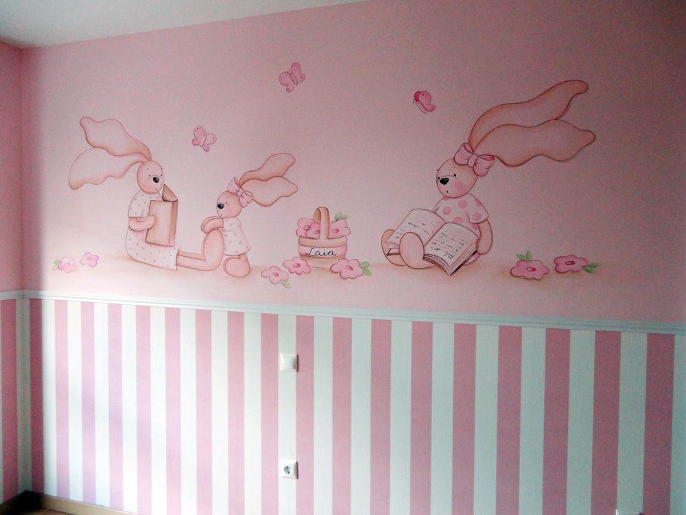 Murales infantiles de ositos y conejitos para bebe baby - Decoracion para habitacion de bebe nina ...