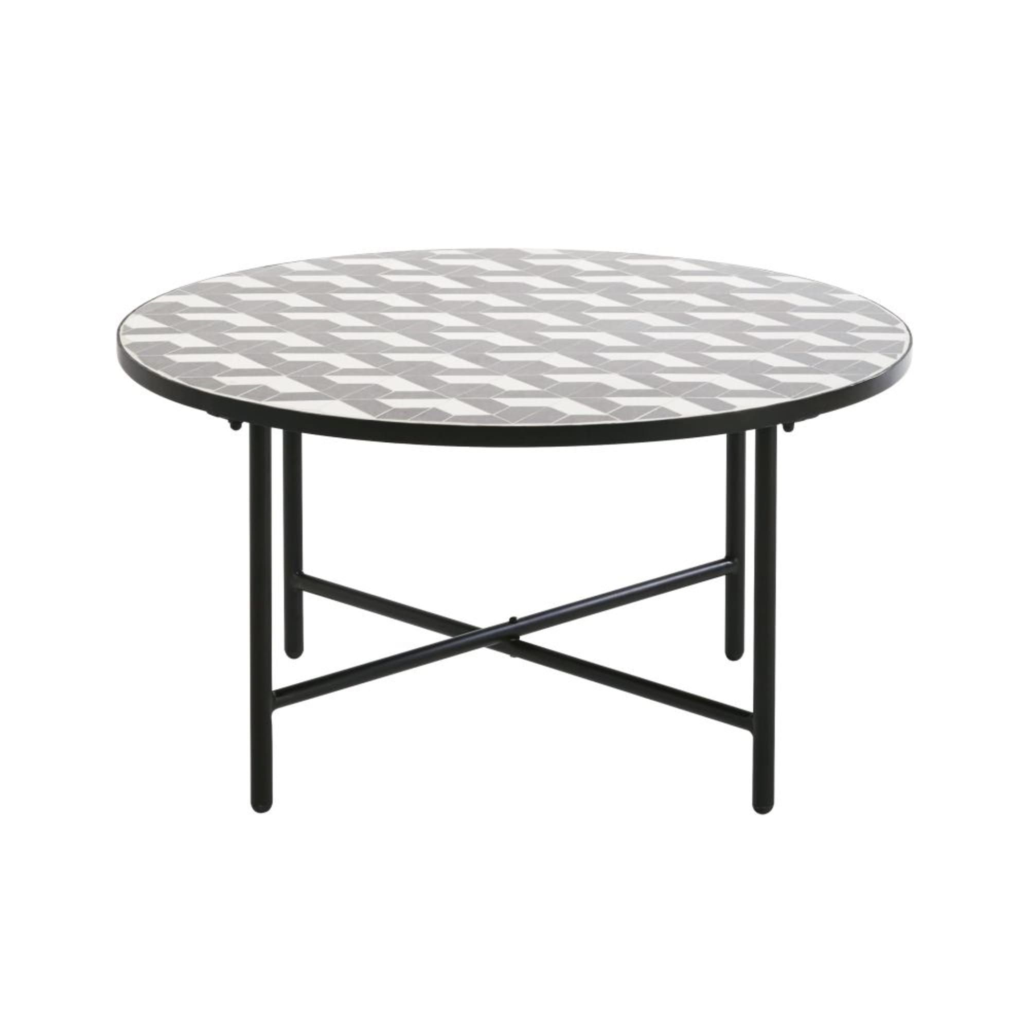 Round White And Grey Ceramic Garden Coffee Table Maisons Du Monde In 2020 Garden Coffee Table Grey Ceramics Sun Lounger Cushions