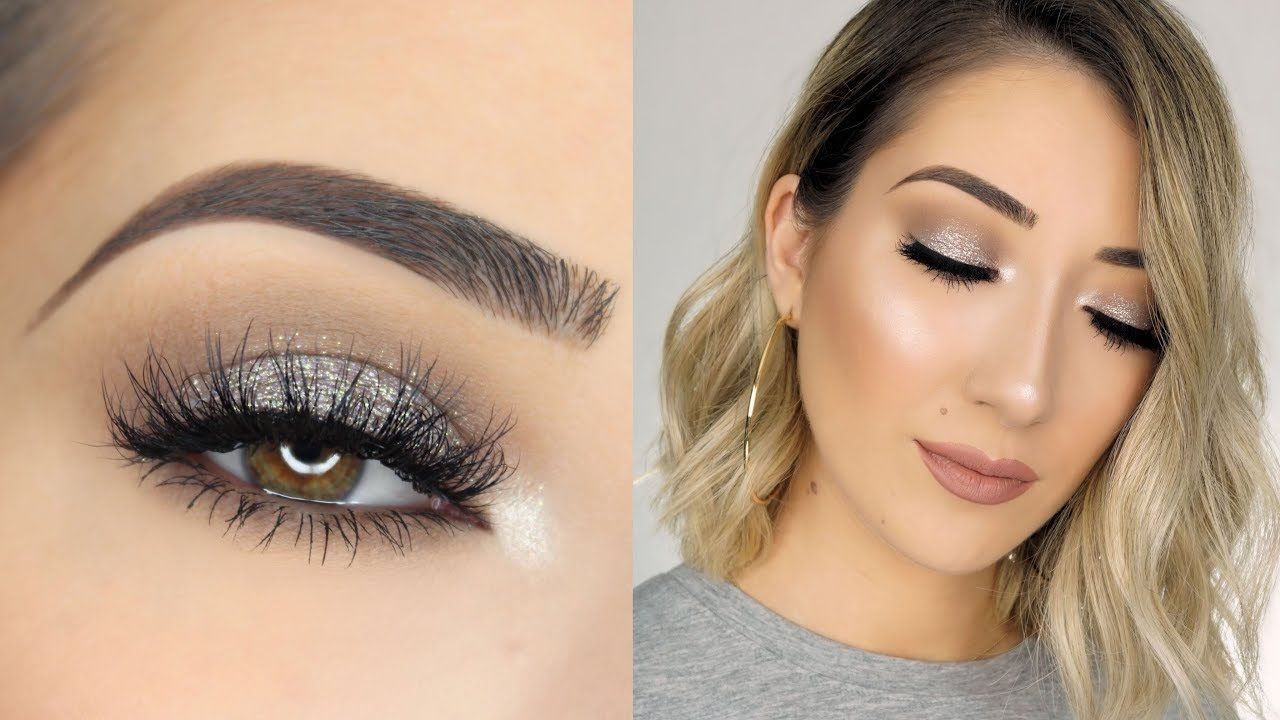 SOFT SPARKLY SILVER SMOKEY EYE MAKEUP TUTORIAL YouTube