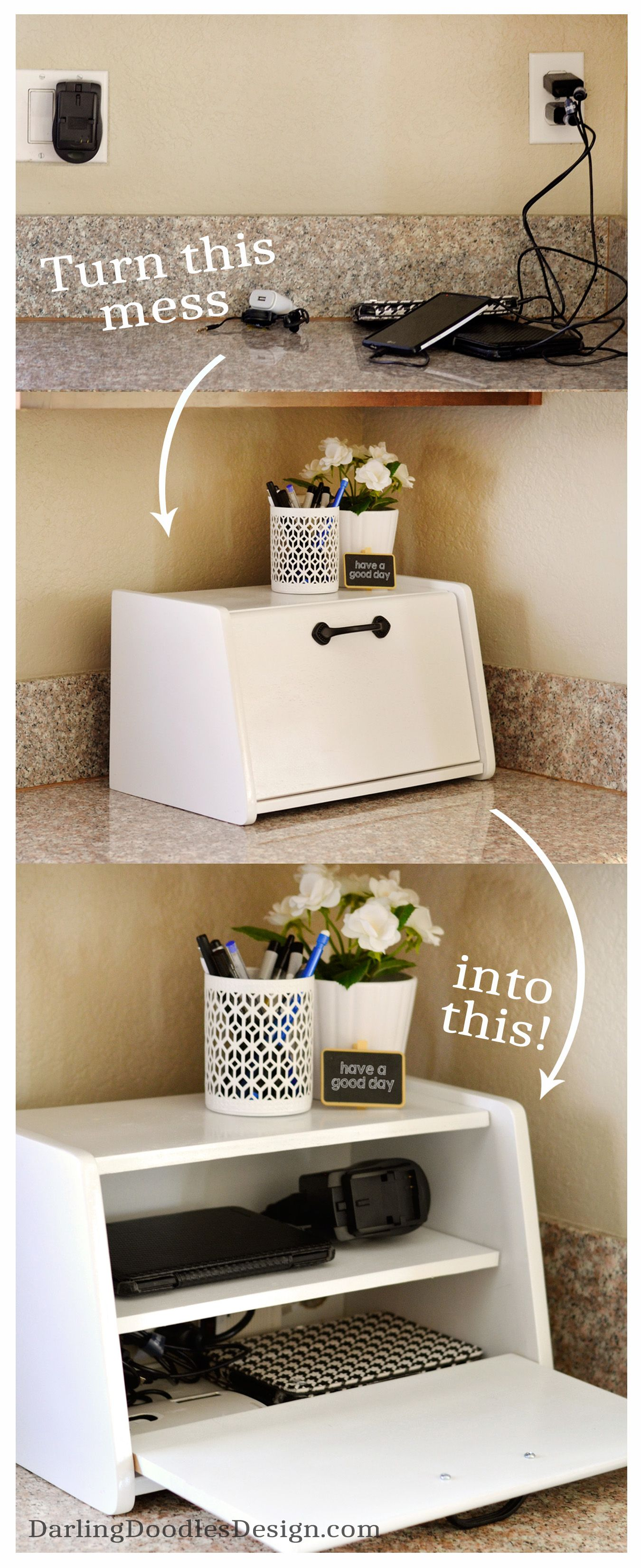 Diy Charging Station With An Old Bread Box Darling Doodles Home Office Organization Home Organization Organization Bedroom