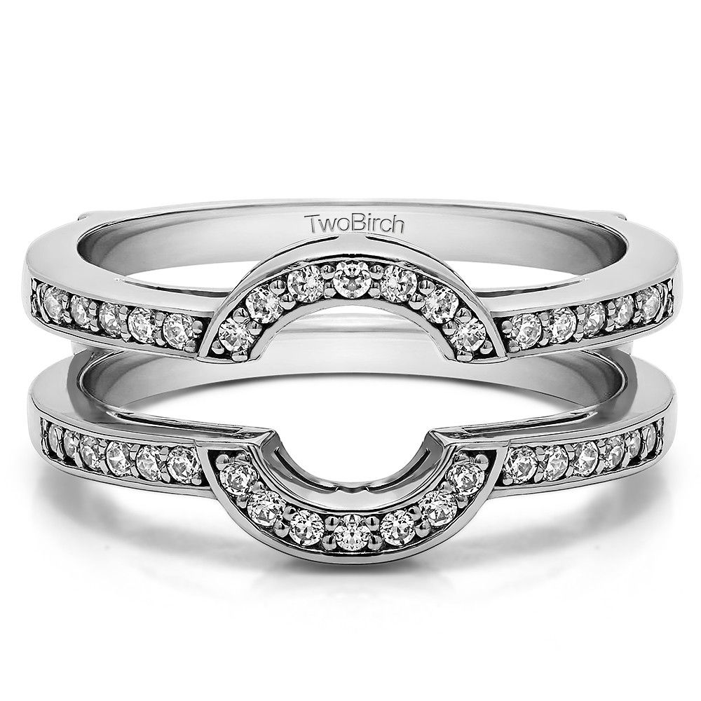 Round Classic Style Halo Wedding Ring Guard. One of the