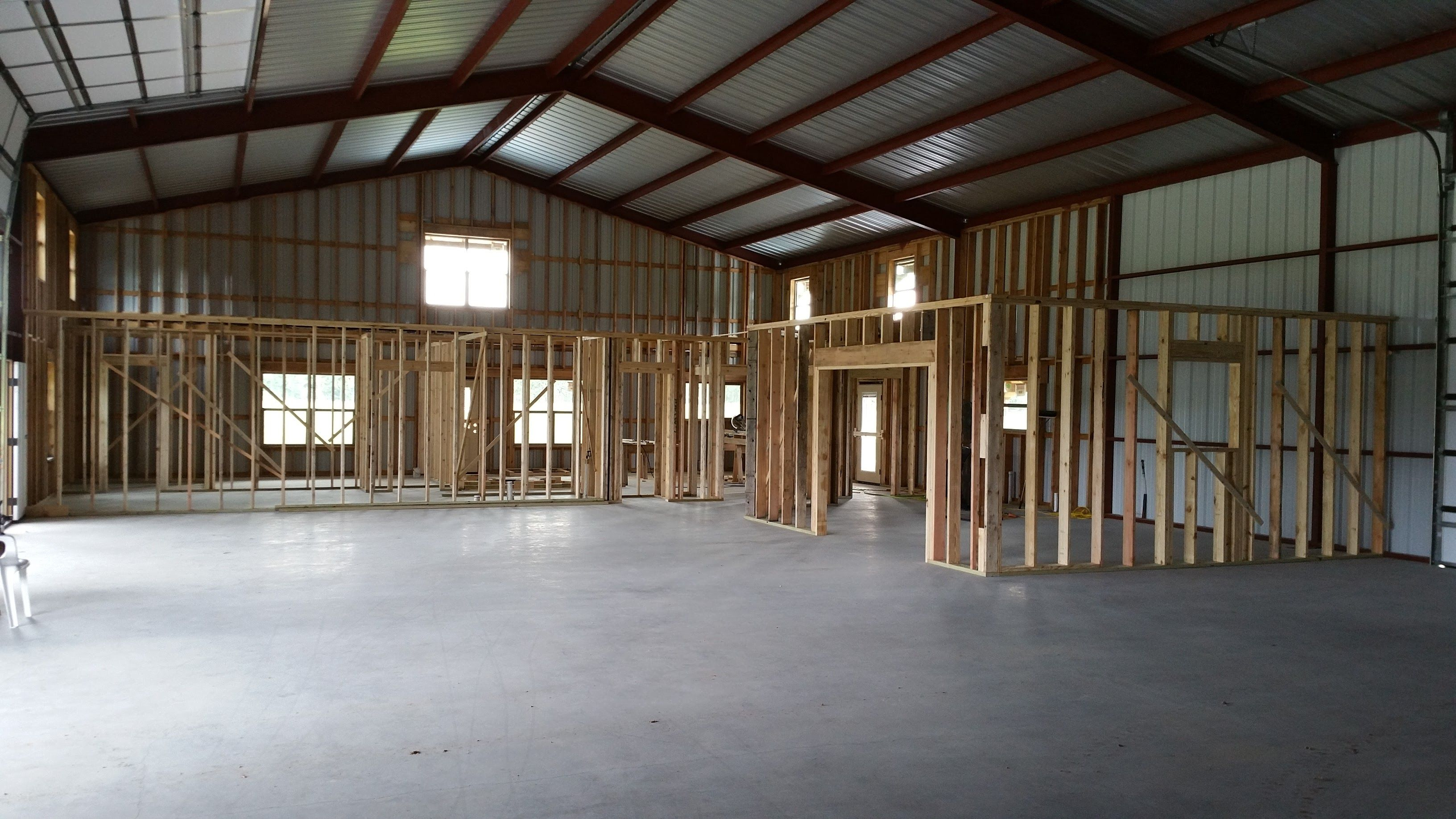 Wood Framing The Inside First Floor Steel Building Homes