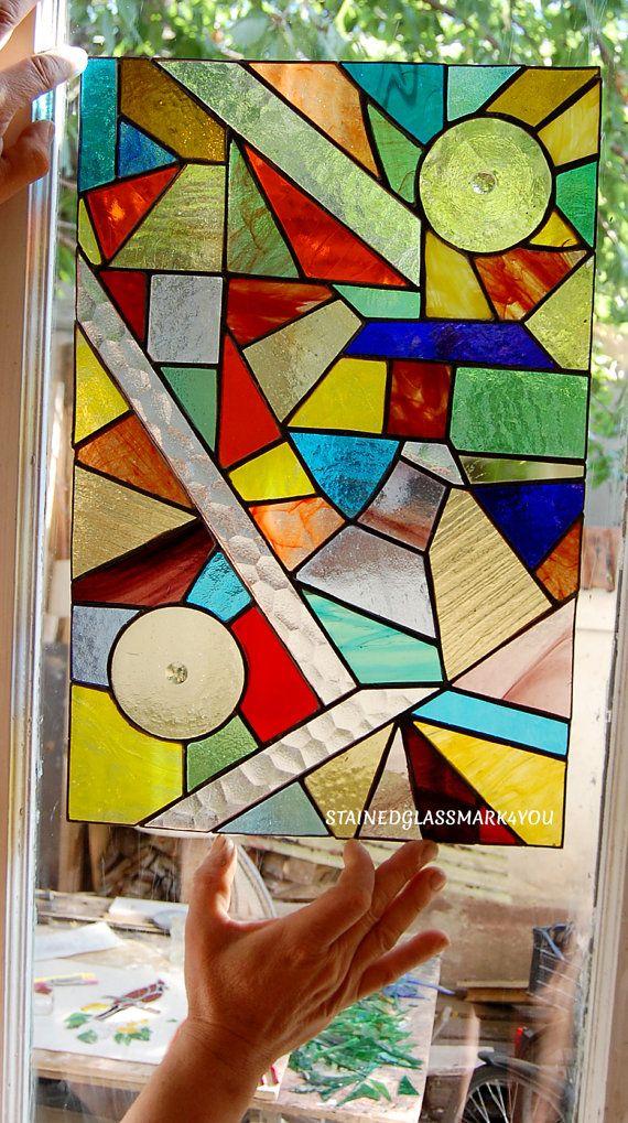 Coloridos vitrales abstractos. por Stainedglassmark4you en Etsy