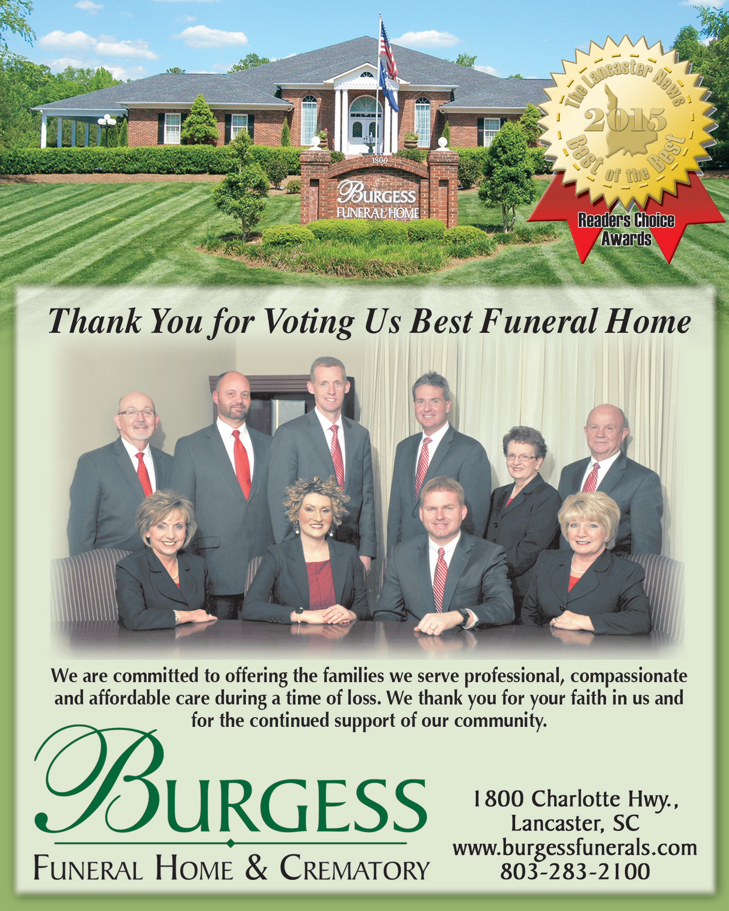 Thank you for Voting Us Best Funeral Home