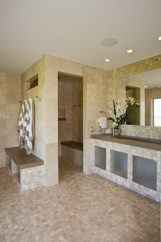 Doorless Walk in Shower Ideas Bathroom Contemporary with Bench Seat ...