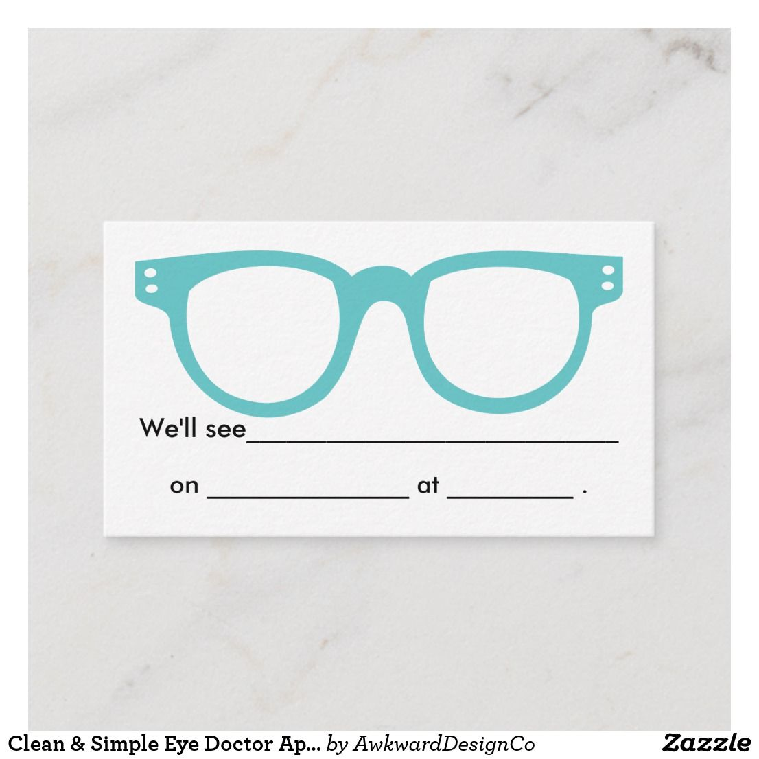 Clean Simple Eye Doctor Appointment Card Zazzle Com Eye