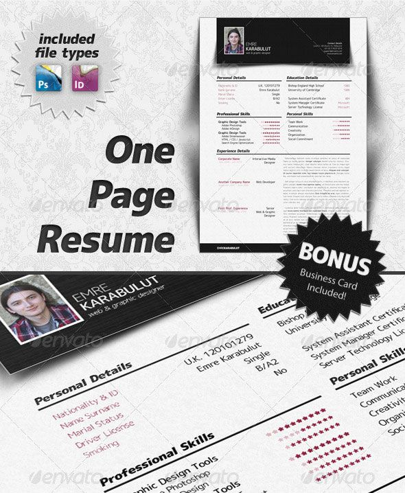 Minimalist One Page Resume (CV) Work Pinterest Resume cv - one page resume