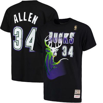 0325674fb Ray Allen Milwaukee Bucks Mitchell   Ness Name and Number T-Shirt - Black -