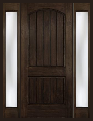 Exceptional Arch Plank Square Top Rustic Fiberglass Door With 2 Sidelights