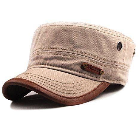 49a428f8587 CACUSS Men Cotton Army Cap Cadet Hat Military Flat Top Adjustable Baseball  Cap