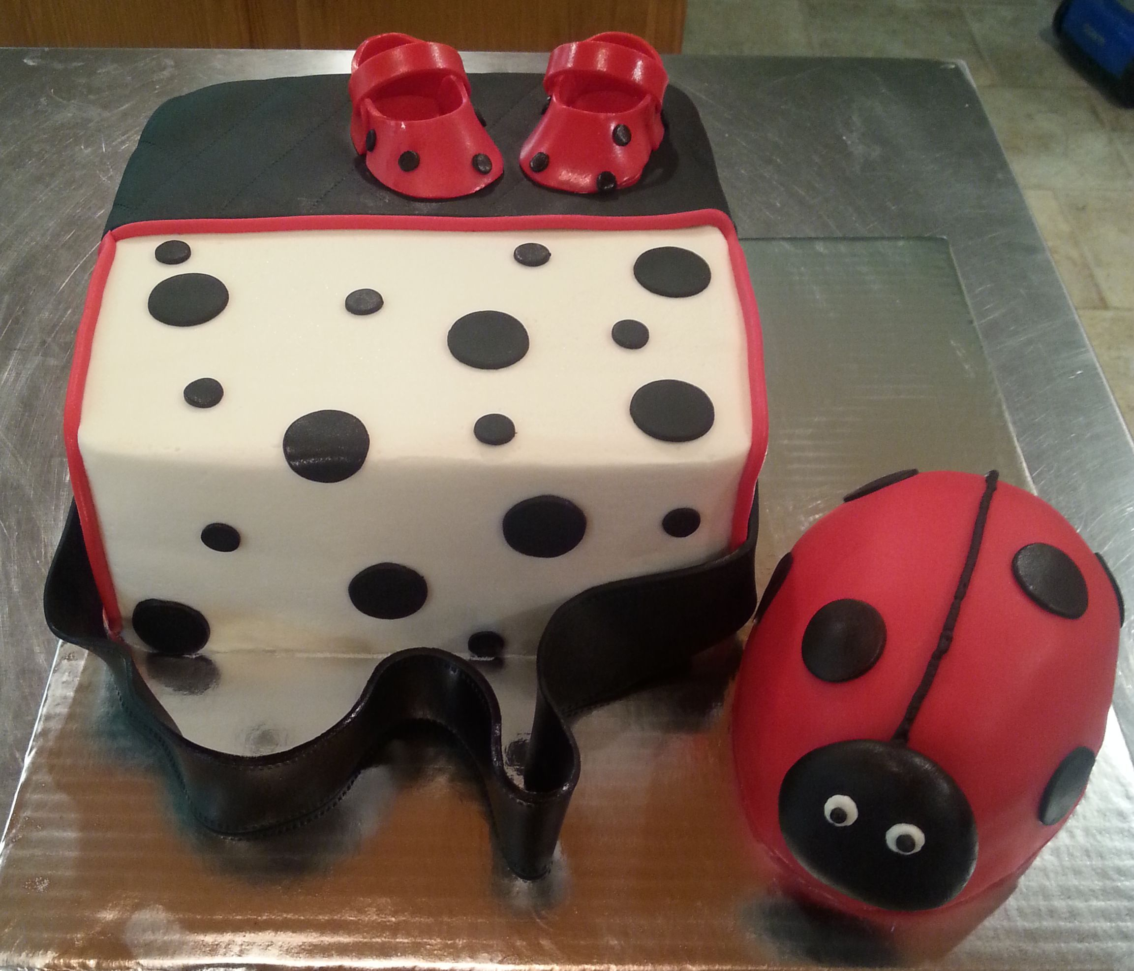 Ladybug Diaper Bag Baby Shower Cake
