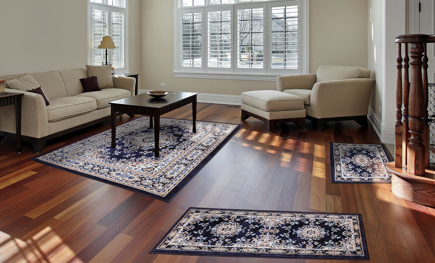 Set Of Three Navy Area Rugs Traditional Medallion Persian 3 Pcs Rug Oriental Bordered