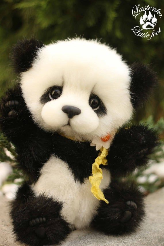 Panda bear Rio artist stuffed teddy bear OOAK handmade plush collectible toy cute panda cub realistic teddy bear beas gift (made to order) #babypandabears