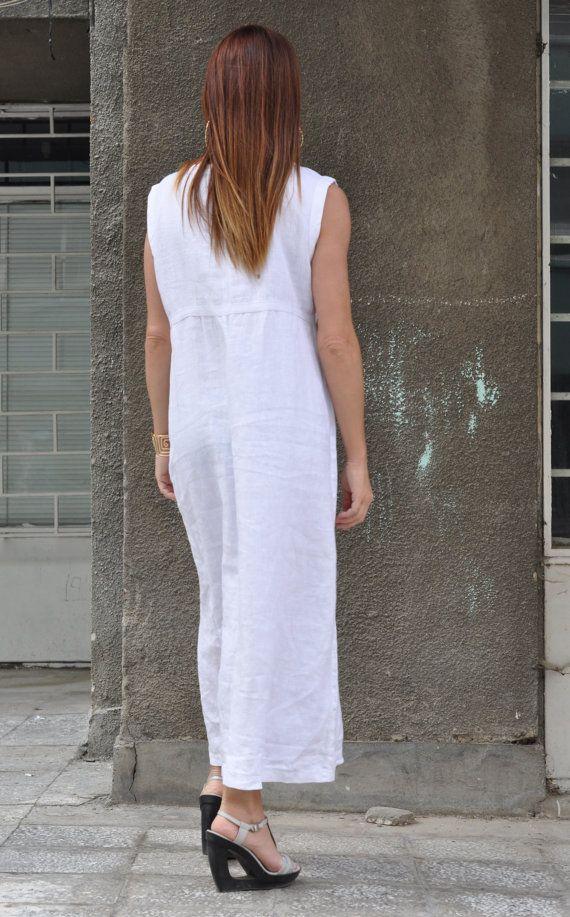 15 Summer Sale Women Long Dress Plus Size White Dress White Linen